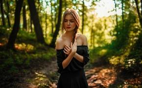 Picture The sun, Nature, Girl, Forest, Black, Hair, Dress, Pigtail, Beautiful, Vasilisa Sarovskaya