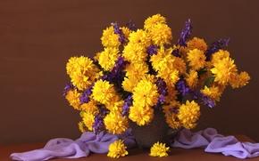 Picture bouquet, fabric, rudbeckia