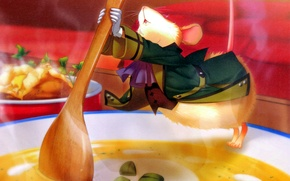 Picture mouse, plate, costume, spoon, soup, art, visual novel, miko, beast master and prince, klaus