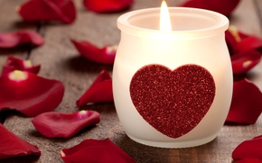 Picture heart, rose, candle, petals, form, Heart candle