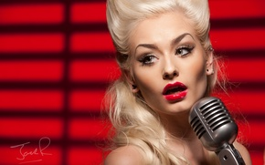 Wallpaper girl, face, blonde, microphone, singer, red lipstick, Romanie Smith