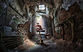 Picture chair, devastation, prison, sunlight, Barber, sunroof