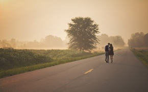 Picture road, girl, morning, guy