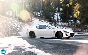 Picture forest, white, snow, trees, Maserati, skid, supercar, side view, GranTurismo, Maserati, top gear, top gear, …