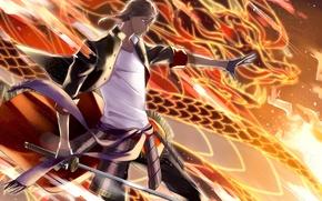 Picture fire, anime, art, guy, touken ranbu