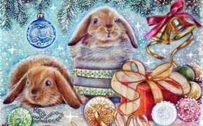 Picture animals, toy, holiday, snow, gift, bell, winter, Christmas, tree, new year, hare
