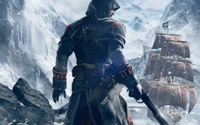Picture snow, mountains, weapons, back, ship, ice, hood, Templar, sails, killer, Ubisoft, blade, pistol, Shay Patrick …