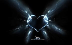 Wallpaper love, rays, love, darkness, heart