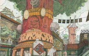 Picture street, wire, home, lights, signs, Naruto, the trunk of the tree, Naruto Shippuden, Konoha, Naruto …