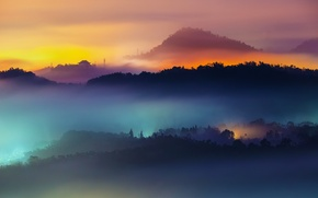 Picture rainbow, forest, trees, sunset, sun, fog, home, Hills