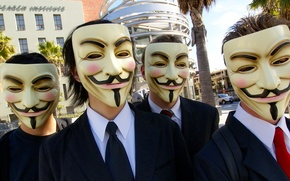 Picture mask, smile, group, Anonymous, hackers