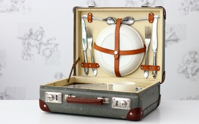 Picture background, devices, suitcase