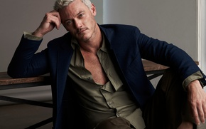 Picture pose, actor, shirt, jacket, photoshoot, blonde, Luke Evans, Luke Evans, The Journal, Mr.Porter, Blair Getz ...