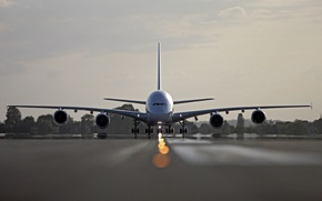 Picture The sky, Clouds, The plane, Trees, Liner, Airport, Strip, A380, The rise, Airbus, Air France