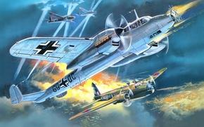 Picture figure, art, Dornier, night fighter, Do 215 B-5, Kauz III, welington