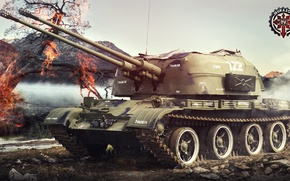Picture Game, USSR, Games, Art, World of Tanks, ZSU-57-2, FuriousGFX, ZSU-57-2