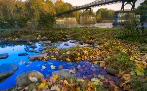 Picture autumn, the sky, leaves, trees, bridge, river, stones, support