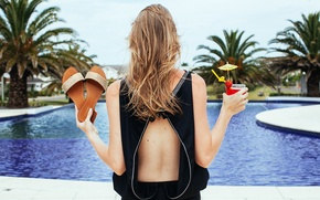 Wallpaper hair, vacation, palm trees, drink, pool, girl, hotel, sandals, back