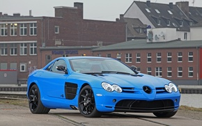 Picture blue, the building, McLaren, Mercedes, blue, building, slr, Mercedes, CUT48