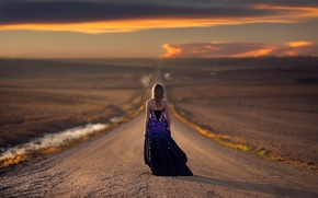Picture road, girl, the way, dress, space