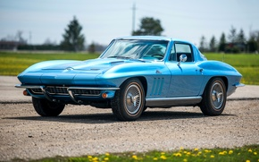 Picture Corvette, Chevrolet, Retro, Blue, Car, Coupe, 1966, Sport, L30, StingRay