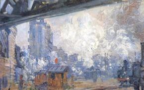 Picture picture, Claude Monet, genre, Exterior View Of The Station Saint-Lazare