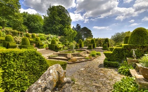 Picture greens, clouds, trees, design, England, track, garden, fountain, the bushes, Mapperton