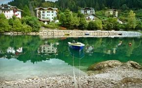 Wallpaper boat, reflection, Italy, home, trees, shore, water, Molveno, river, stones