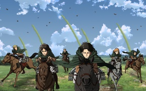 Picture anime, horse, art, characters, attack of the titans, Shingeki no Kyojin