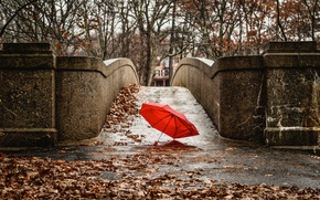 Picture autumn, red, bridge, the city, umbrella