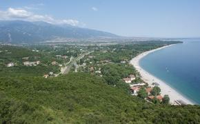 Picture summer, sea, mountain, sun, greece