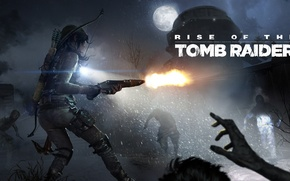 Wallpaper cold, Supplement, infected, DLC, Rise of the Tomb Raider, girl, logo, Crystal Dynamics, weapons, Lara ...