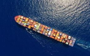 Wallpaper sea, sunny, ship, ocean, sailing, cargo ship