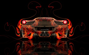 Picture Color, Auto, Black, Fire, Machine, Ferrari, Style, Orange, Italy, Wallpaper, Background, Ferrari, Orange, Flame, Car, …
