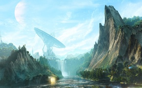 Picture rocks, figure, waterfall, antenna, desktopography, digital art, repeater, waterfall valley