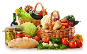 Picture pepper, tomatoes, radishes, vegetables, wine, red, cabbage, basket, eggplant, bread, greens, mushrooms, carrots, bottle, mushrooms, ...