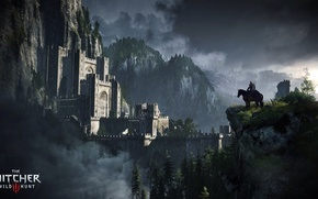 Wallpaper trees, rain, horse, fortress, the Witcher, Geralt, The Witcher 3: Wild Hunt, Kaer Morhen, Roach, ...