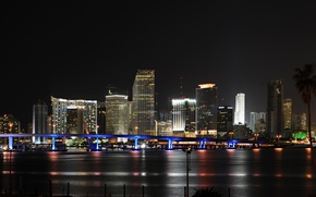 Wallpaper night, panorama, the city, USA, Miami