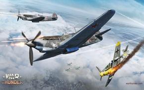 Picture winter, the sky, flame, war, fighter, shooting, Art, Messerschmitt, German, Junkers, Soviet, piston, single-engine, Bf.109G, ...