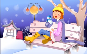 Picture winter, girl, bench, house, tree, graphics, lantern, snowman
