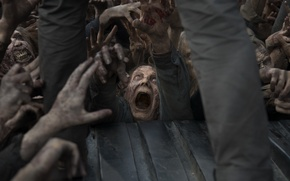 Picture zombies, makeup, horde, The walking Dead