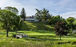 Picture road, greens, grass, trees, bridge, lawn, Canada, Mississaugua