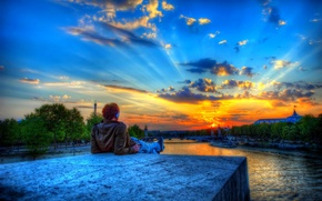 Picture the sky, clouds, trees, sunset, the city, stone, people, tower, Paris, hdr, male, hay, kexb. …