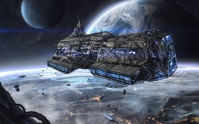 Picture space, the city, lights, planet, ships, art, space