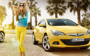 Picture auto, palm trees, Girl, Opel