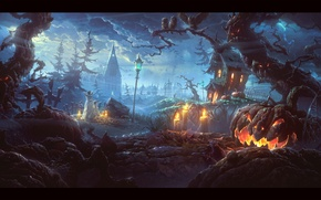 Picture the storm, trees, candles, monsters, pumpkin, Halloween