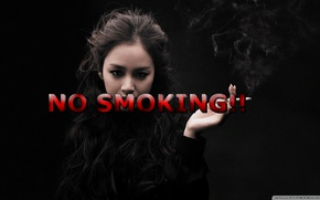 Picture girl, GoodFon, Text, NO SMOKING!!!