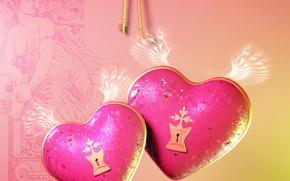 Picture love, castle, heart, wings, love, keys, key, Heart, Valentines Day