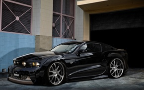 Picture black, Mustang, Ford, garage