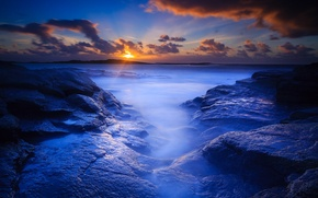 Picture beach, rocks, dawn, morning
